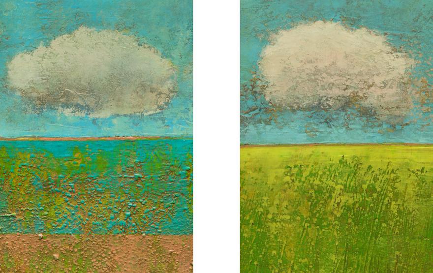 Landschaft, Wolke, Blumen, Dieter Ziegenfeuter, Acryl auf Karton, Dortmund, Malerei, Prof. Dieter Ziegenfeuter