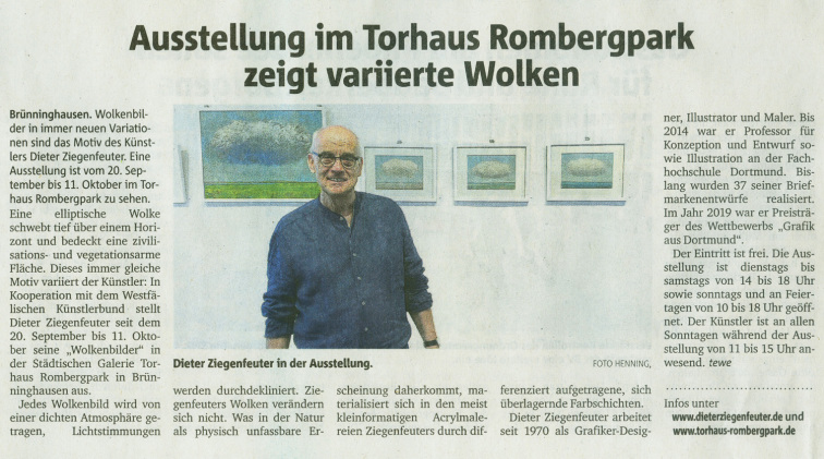 Dieter Ziegenfeuter, Ruhrnachrichten, Ausstellung Torhaus Rombergpark